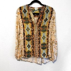 Anthropologie Sequin Embellished Boho Print Tunic